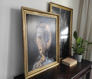 Abstract painting on canvas in old frame, contemporary painting