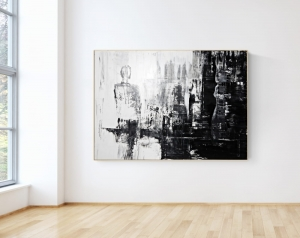 Abstract painting  on canvas in frame, contemporary painting