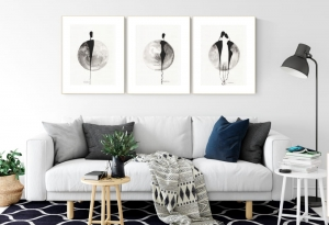 Set of 3 Artworks 30 x 40 cm, Original Abstract Painting